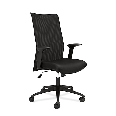basyx by HON HVL573 Mesh High-Back Chair, Synchro-Tilt, Fixed Arms, Black Fabric Seat