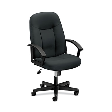 basyx by HON HVL601 Executive High-Back Chair, Center-Tilt, Fixed Arms, Charcoal Fabric