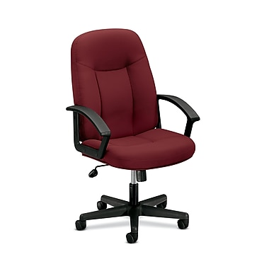 basyx by HON HVL601 Executive High-Back Chair, Center-Tilt, Fixed Arms, Burgundy Fabric