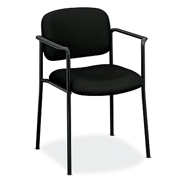 basyx by HON HVL616 Stacking Guest Chair, Fixed Arms, Black Fabric