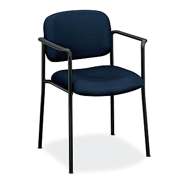 basyx by HON HVL616 Stacking Guest Chair, Fixed Arms, Navy Fabric