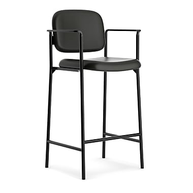 basyx byHON® VL636 Cafe-Height Stool, Fixed Arms, Black SofThread™ Leather