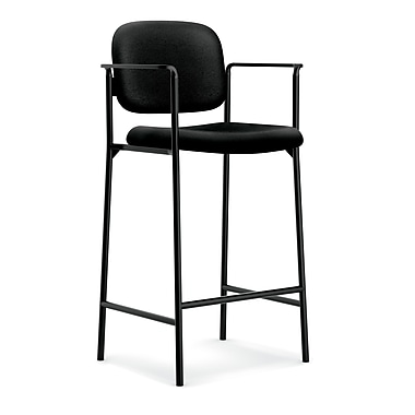 basyx byHON® VL636 Cafe-Height Stool, Fixed Arms, Black