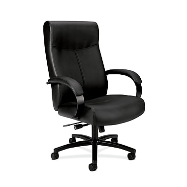 basyx by HON HVL685 Big and Tall Executive Chair, Center-Tilt, Fixed Arms, Black SofThread Leather