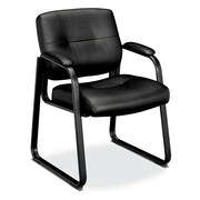 basyx by HON HVL693 Sled Base Guest Chair, Padded Arms, Black SofThread Leather
