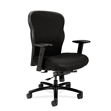 basyx by HON HVL705 Mesh Big and Tall Executive Chair, Knee-Tilt, Adjustable Arms, Black Fabric Seat