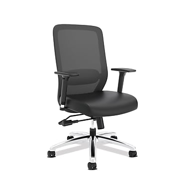 basyx by HON VL721 Mesh High-Back Office Chair, Black SofThread Leather, (BSXVL721SB11)