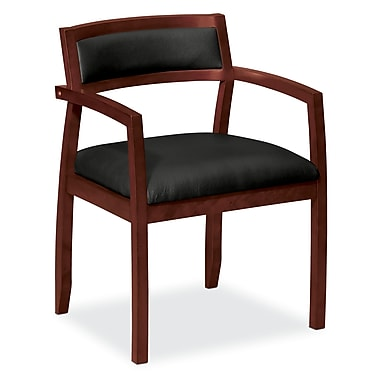 basyx by HON HVL852 Guest Chair, Wood Frame, Mahogany Finish, Black SofThread Leather