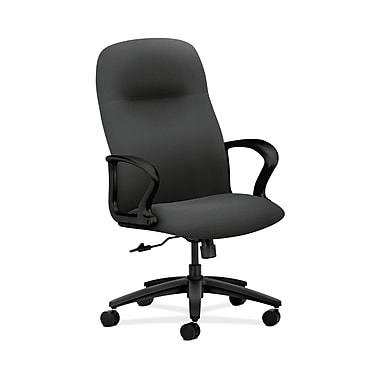 HON® Gamut Executive High-Back Chair, Center-Tilt, Fixed Arms, Iron Ore Fabric