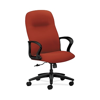 HON® Gamut Executive High-Back Chair, Center-Tilt, Fixed Arms, Poppy Fabric