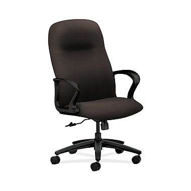 HON® Gamut Executive High-Back Chair, Center-Tilt, Fixed Arms, Espresso Fabric