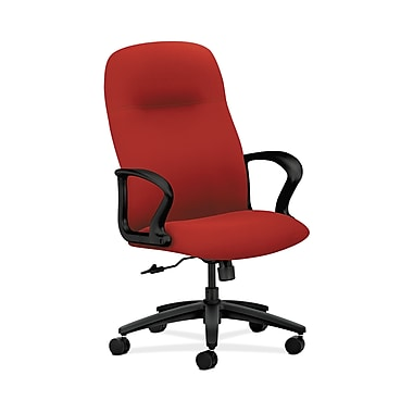 HON® Gamut Executive High-Back Chair, Center-Tilt, Fixed Arms, Tomato Fabric