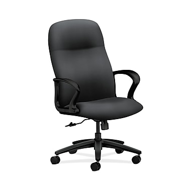 HON® Gamut Executive High-Back Chair, Center-Tilt, Fixed Arms, Onyx Fabric