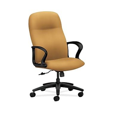 HON® Gamut Executive High-Back Chair, Center-Tilt, Fixed Arms, Mustard Fabric