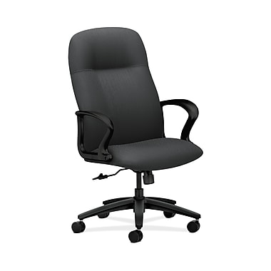 HON® Gamut Executive High-Back Chair, Center-Tilt, Fixed Arms, Tectonic Charcoal Fabric