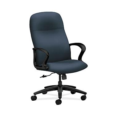 HON® Gamut Executive High-Back Chair, Center-Tilt, Fixed Arms, Silvertex Vinyl Jet