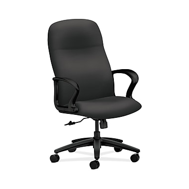 HON® Gamut Executive High-Back Chair, Center-Tilt, Fixed Arms, Carbon Fabric