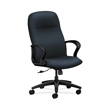 HON® Gamut Executive High-Back Chair, Center-Tilt, Fixed Arms, Navy Fabric