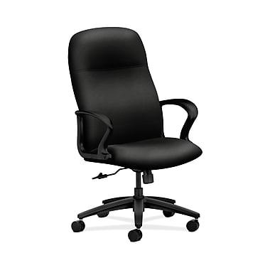 HON® Gamut Executive High-Back Chair, Center-Tilt, Fixed Arms, Black Fabric