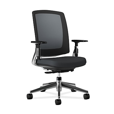 HON Lota Mesh Back Chair, Weight-Activated tilt, Adjustable Arms, Black Fabric, Polished Aluminum base