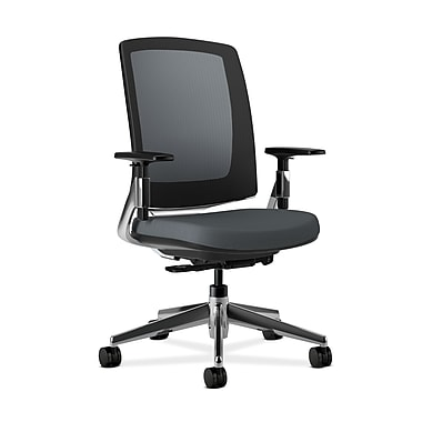 HON Lota Mesh Back Chair, Weight-Activated tilt, Adjustable Arms, Charcoal Fabric, Polished Aluminum base