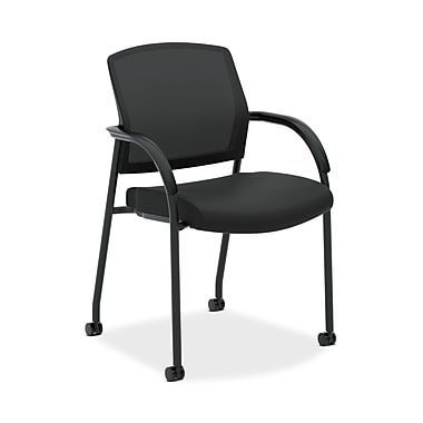 HON® Lota Multi-Purpose Side Guest Chair, Fixed Loop Arms, Black