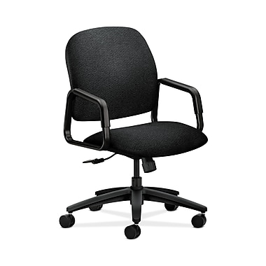 HON Solutions Seating High-Back Chair, Center-Tilt, Fixed Arms, Black Olefin Fabric