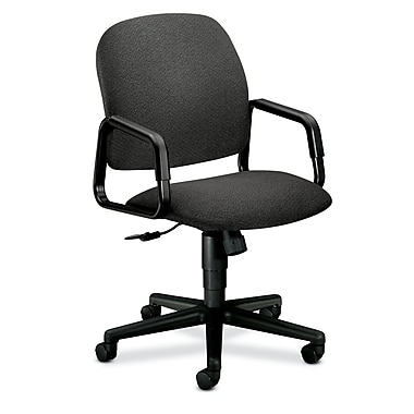 HON Solutions Seating High-Back Chair, Center-Tilt, Fixed Arms, Grey Olefin Fabric