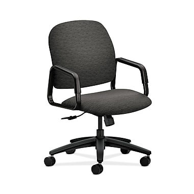 HON® Solutions Seating High-Back Chair, Center-Tilt, Fixed Arms, Textured Onyx Fabric