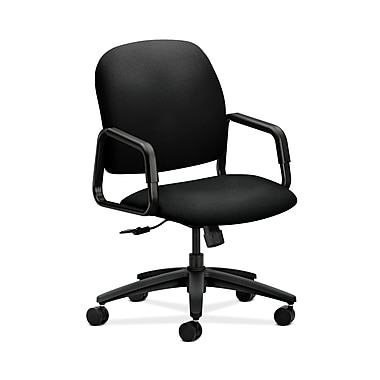 HON® Solutions Seating High-Back Chair, Center-Tilt, Fixed Arms, Centurion Black Fabric