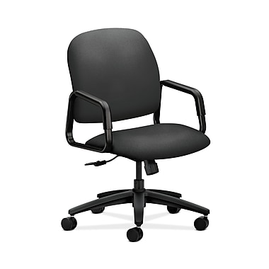 HON® Solutions Seating High-Back Chair, Center-Tilt, Fixed Arms, Iron Ore Fabric