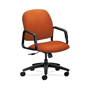 HON® Solutions Seating High-Back Chair, Center-Tilt, Fixed Arms, Tangerine Fabric