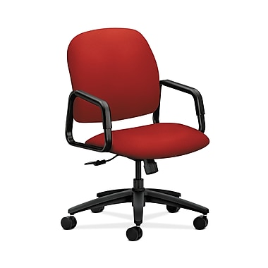 HON® Solutions Seating High-Back Chair, Center-Tilt, Fixed Arms, Tomato Fabric