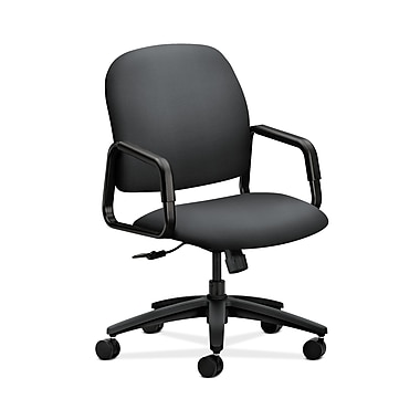 HON® Solutions Seating High-Back Chair, Center-Tilt, Fixed Arms, Onyx Fabric