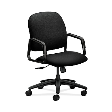 HON® Solutions Seating High-Back Chair, Center-Tilt, Fixed Arms, Tectonic Black Fabric