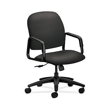 HON® Solutions Seating High-Back Chair, Center-Tilt, Fixed Arms, Carbon Fabric