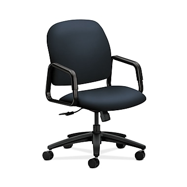 HON® Solutions Seating High-Back Chair, Center-Tilt, Fixed Arms, Navy Fabric