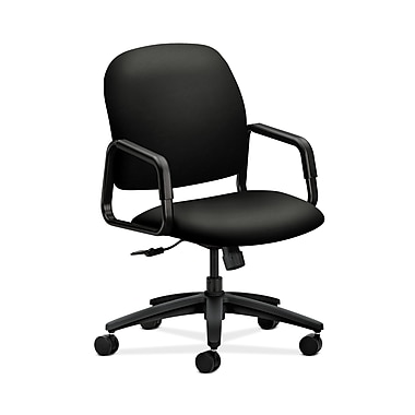 HON® Solutions Seating High-Back Chair, Center-Tilt, Fixed Arms, Whisper Vinyl Black