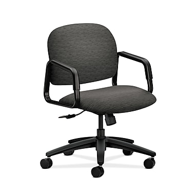 HON® Solutions Seating Mid-Back Chair, Center-Tilt, Fixed Arms, Attire Onyx Fabric