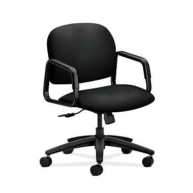 HON® Solutions Seating Mid-Back Chair, Center-Tilt, Fixed Arms, Centurion Black Fabric
