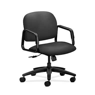 HON® Solutions Seating Mid-Back Chair, Center-Tilt, Fixed Arms, Iron Ore Fabric