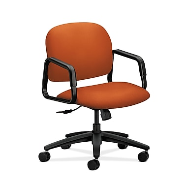HON® Solutions Seating Mid-Back Chair, Center-Tilt, Fixed Arms, Tangerine Fabric
