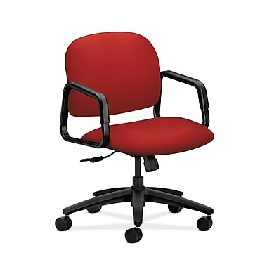HON® Solutions Seating Mid-Back Chair, Center-Tilt, Fixed Arms, Tomato Fabric