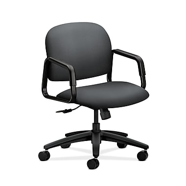 HON® Solutions Seating Mid-Back Chair, Center-Tilt, Fixed Arms, Inertia Onyx Fabric