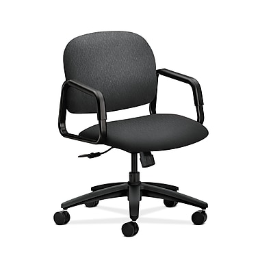 HON® Solutions Seating Mid-Back Chair, Center-Tilt, Fixed Arms, Charcoal Fabric