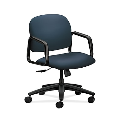 HON® Solutions Seating Mid-Back Chair, Center-Tilt, Fixed Arms, Silvertex Vinyl Jet