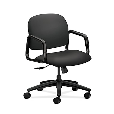 HON® Solutions Seating Mid-Back Chair, Center-Tilt, Fixed Arms, Carbon Fabric