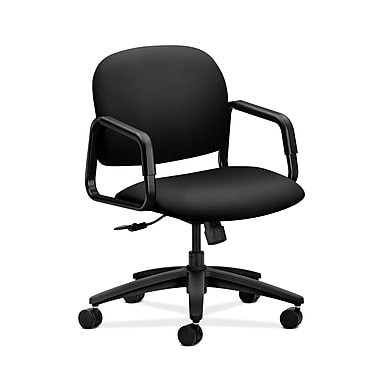HON® Solutions Seating Mid-Back Chair, Center-Tilt, Fixed Arms, Contourett Polyurethane Black