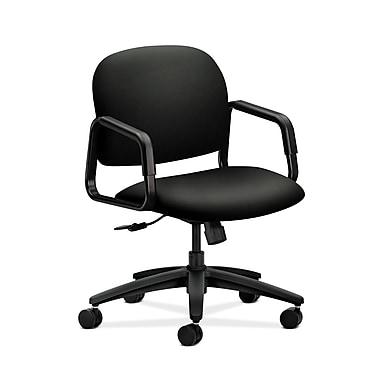 HON® Solutions Seating Mid-Back Chair, Center-Tilt, Fixed Arms, Whisper Vinyl Black