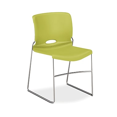 HON® Olson High-Density Stacking Chair, Lime Shell, 4/Pack